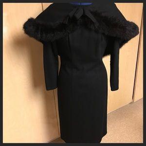 Vtg 60s Lilli Diamond Black Dress w/Fur Cape Sz S